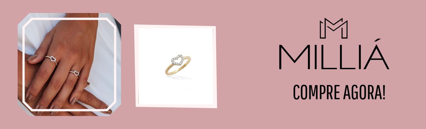 anel solitário coração