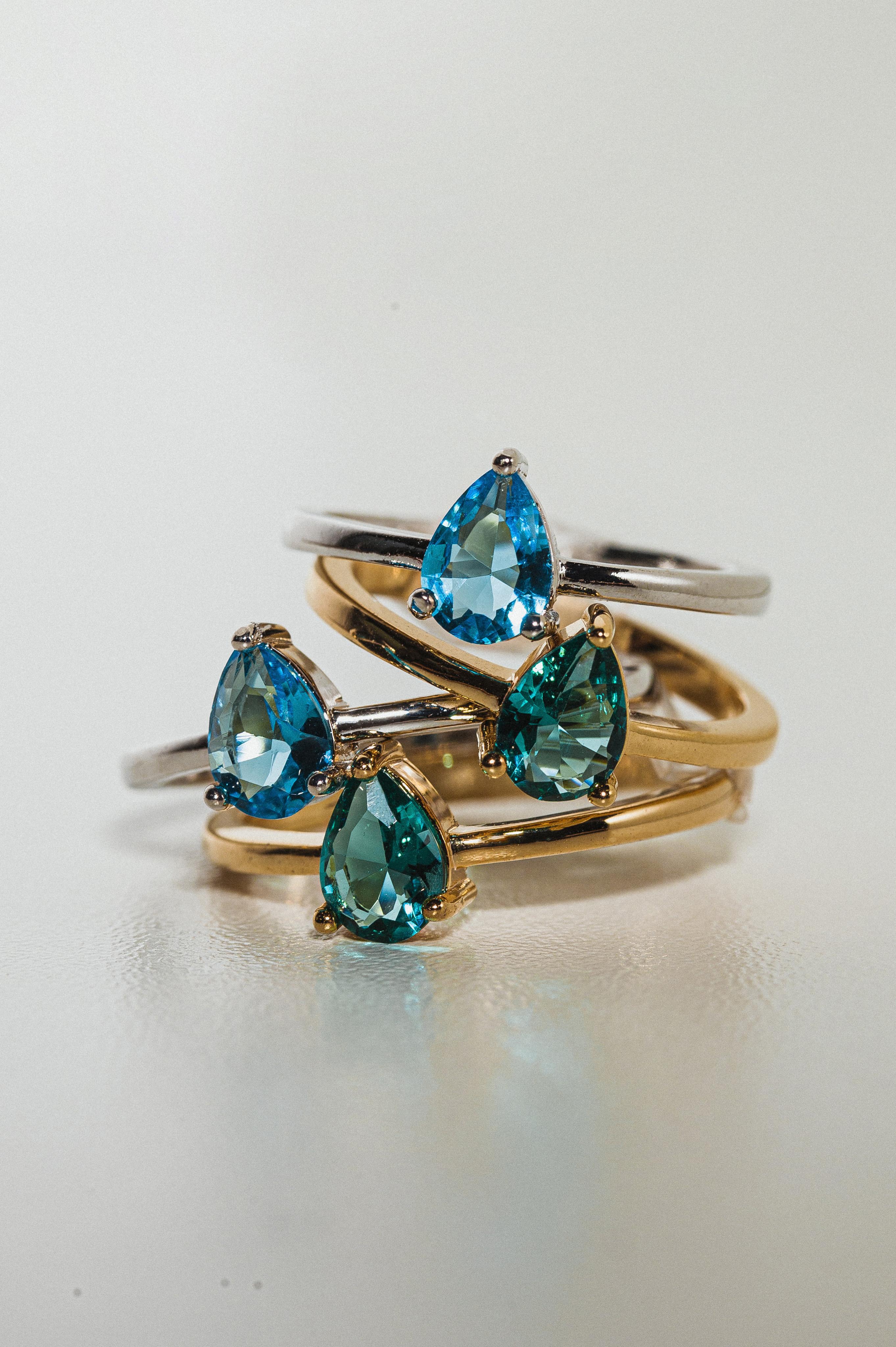 anel com pedra colorida